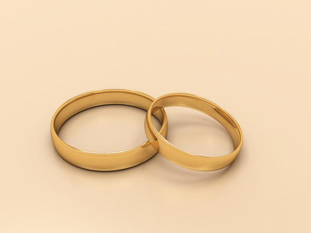 Gold wedding rings, 3d render