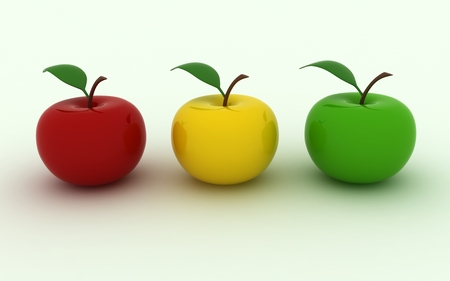 juicy: Isolated image of three juicy apples Stock Photo