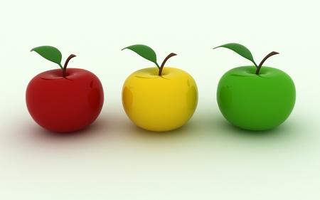 Isolated image of three juicy apples 版權商用圖片