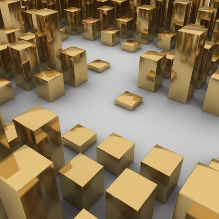 Abstract 3d illustration of gold boxes on white background