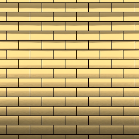 Gold brick wall 3d render