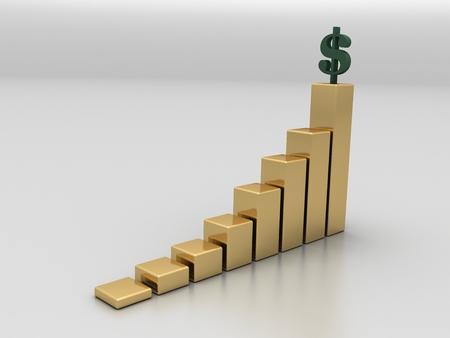 Gold graph with green dollar sign 版權商用圖片