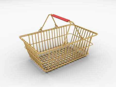 Gold wire shopping basket isolated on a white background. 版權商用圖片