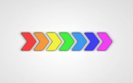 3d rainbow: 3d arrows of rainbow colors