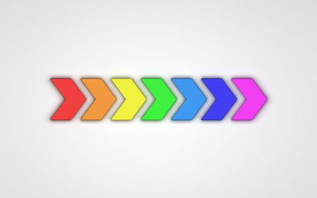 3d arrows of rainbow colors