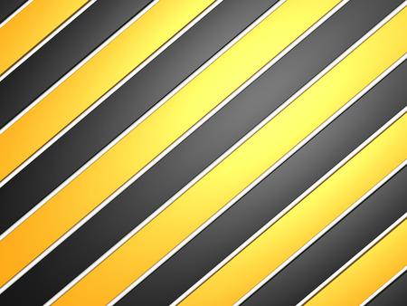 Industrial striped road warning yellowblack background 3d render