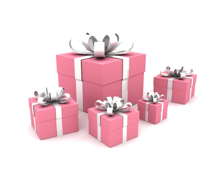 Group Of Five Pink Gift Boxes With White Ribbon