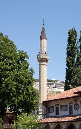 minaret and ancient mosque in at tartarian khans palace
