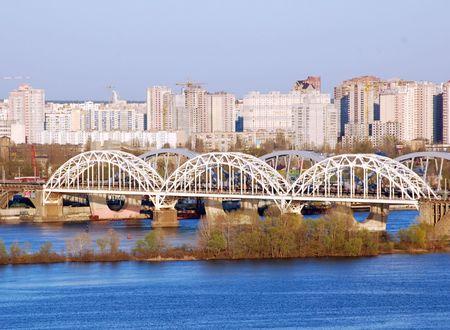 dnepr: Railway bridge across Dnepr river, Kiev, Ukraine