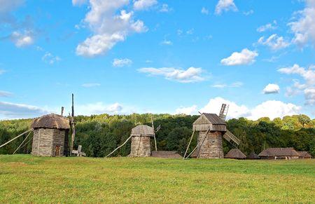 ethnographic: Old wooden windmills at ethnographic museum, Ukraine Stock Photo