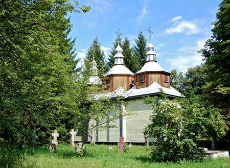 ethnographic: Antique wooden chapel at ethnographic museum, Ukraine