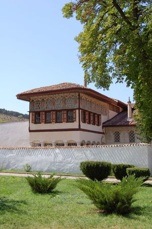crimean: Khans Palace (or Hansaray) view in town of Bakhchisaray (Crimea, Ukraine). It was built in the 16th century.