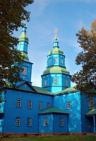 ethnographic: Antique wooden chapel at ethnographic museum Pereiaslav- Khmelnytskyi, Ukraine