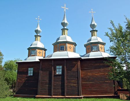 ethnographic: Antique wooden church at ethnographic museum Pereiaslav-Khmelnytskyi, Ukraine