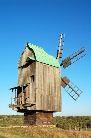 ramshackle: Antique ramshackle wooden windmill, Pirogovo, Kiev, Ukraine
