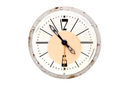 Vintage alarm clock, isolated on white background photo