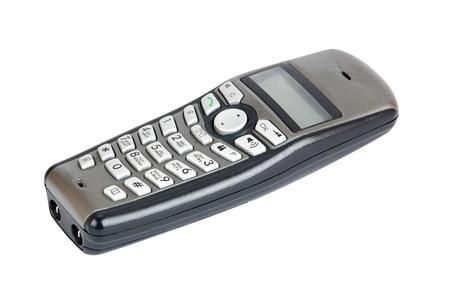 phone handset: Microtelefono per telefono cordless, isolato su sfondo bianco