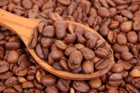 Roasted brown coffee beans in wooden spoon photo