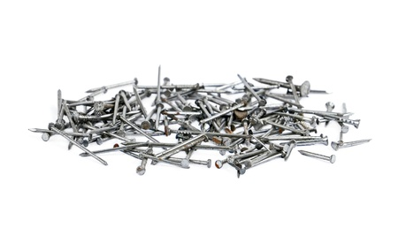 inflexible: Pile of iron nails, isolated on white background