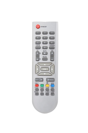 Remote control for cable TV set on white background