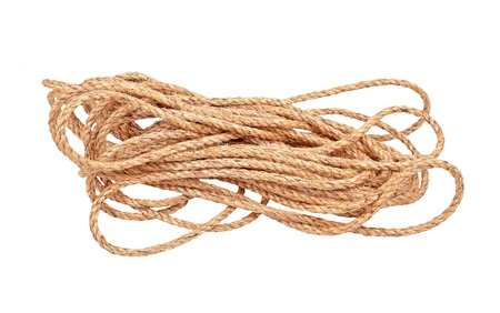 bundles: Natural fiber manila rope, isolated on white background