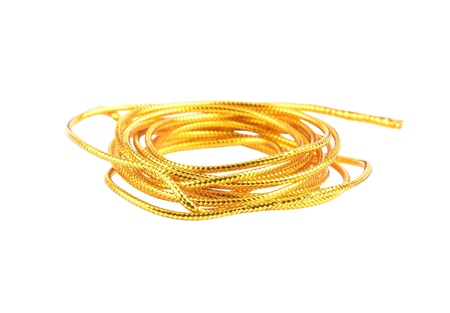 Golden cord, isolated on a white background