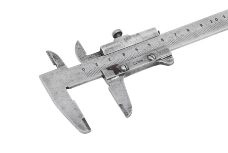 Close up of old vernier caliper, isolated on white background photo