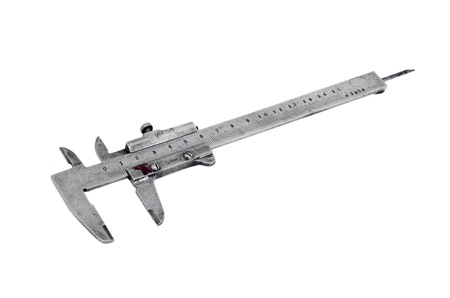 Old vernier caliper, isolated on white background photo