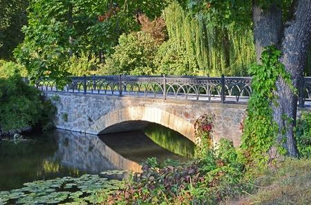 footbridge: Old vintage park bridge in Alexandria, Ukraine