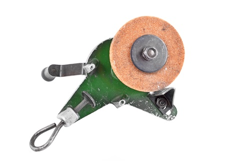 honing: Mechanical grindstone with vice, isolated on white background