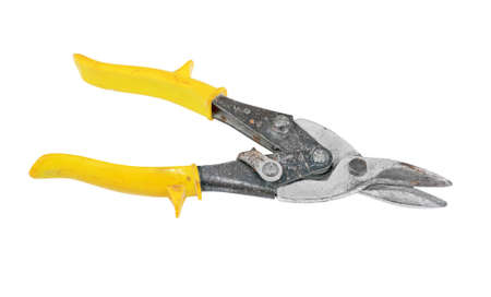 snipping: Shears for metal, isolated on white background Stock Photo