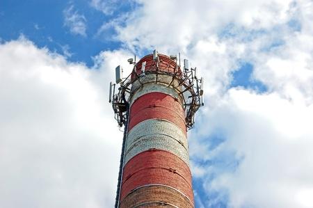 Transceiver for mobile phone on boiler chimney  photo