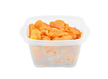 pitted: Secchi snocciolate e tagliate a met� albicocche in scatola di plastica