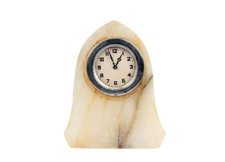 Antique marble clock, isolated on white background photo