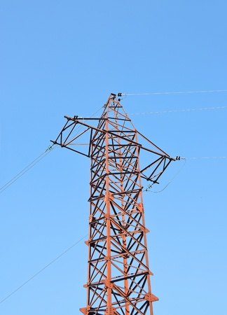 Electric lines pylon on blue sky background photo