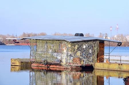 aéroglisseur: Petite rivière quai sur la rivière Dniepr, Kiev, Ukraine