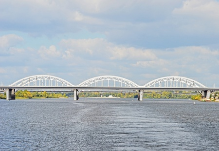 Railway bridge across Dnieper river, Kiev, Ukraine photo