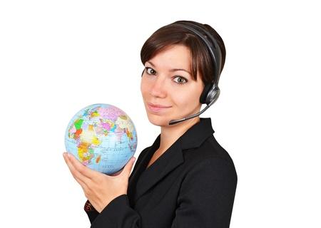 Reisbureau praten over headset, geïsoleerd op witte achtergrond Stockfoto