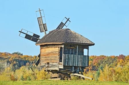 Antique ramshackle wooden windmill, Pirogovo, Kiev, Ukraine Stock Photo - 15904212