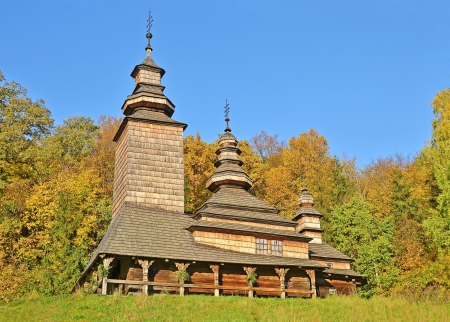 Antique wooden church at ethnographic museum Pirogovo,  Kiev, Ukraine photo