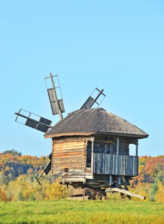 Antique ramshackle wooden windmill, Pirogovo, Kiev, Ukraine Stock Photo - 15972591