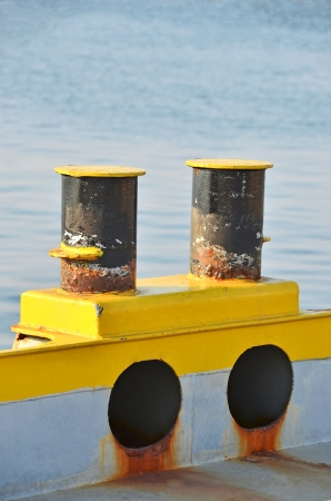 seafaring: Old mooring bollard in port Odessa, Ukraine Stock Photo