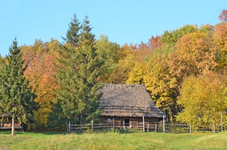 Ancient traditional ukrainian forest carpatian cottage with a straw roof