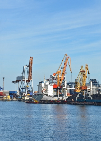 Cargo crane, ship, freight traine and coal in port Stock Photo - 17678656