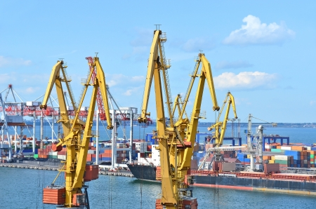 Container stack and ship under crane bridge Stock Photo - 17677308