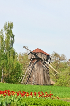 ethnographic: Antique wooden windmill at ethnographic museum, Pereiaslav-Khmelnytskyi, Ukraine