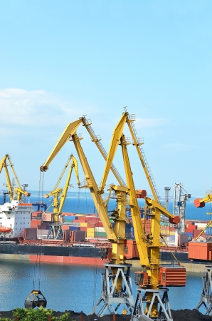 Cargo crane, freight ship and coal in port