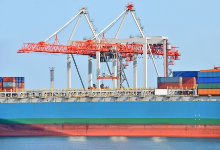 Container stack and ship under crane bridge Stock Photo - 17677343