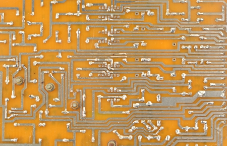 Vintage printed computer circuit board from old PC photo