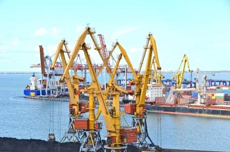 Container stack and ship under crane bridge photo